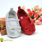 New Silver Toddler Baby Girl Mary Janes shoes Soft sole Prewalker(F66)3-9M
