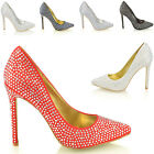 WOMENS STILETTO HIGH HEEL DIAMANTE SATIN BRIDAL PROM PARTY WOMENS POINTED SHOES