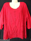 """NWT Catherines Red Stitch Border Mesh Overlay Top 4X 30/32W Chest 66"""" Christmas"""