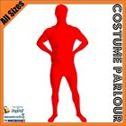 Mens Womens Red Second Skin Suit Zentai Suits Fancy Dress Costume All Sizes