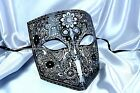 Black Gold Silver Bauta Venetian Men Metallic Masquerade mask Christmas New Year