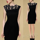 Sexy Women's Lace Scoop Neck Sleeveless Black Evening Party Bodycon Pencil Skirt