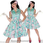 RKV4 Voodoo Vixen Green Floral Summer Rockabilly Pin Up Party Dress 50s Retro