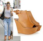 $945 CHLOE SHOES OPEN TOE CUFFED PLATFORM WEDGE TAN LEATHER 41