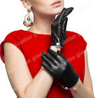 Women's Winter Warm Genuine Leather Gloves For Women Lady Black Driving Gloves