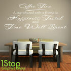 COFFEE TIME WALL STICKER QUOTE - KITCHEN HOME WALL ART DECAL X282