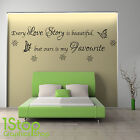 EVERY LOVE STORY WALL STICKER QUOTE -  BEDROOM LOUNGE WALL ART DECAL X85