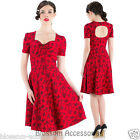 RKV13 Voodoo Vixen Red Summer Floral 50s Dress Rockabilly Pin Up Swing Party
