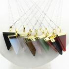 NEW Natural Gemstone Triangle Chakra Reiki Gold Plated Pendant Chain Necklace