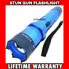 300MV HIGH POWER BLUE MILITARY Stun Gun w/ LED Rechargeable Flashlight NEW