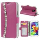 Fits Samsung Galaxy S5 NEO Phone Genuine Leather Diamond Bling Wallet Case Cover
