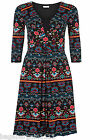 NEW MONSOON NELLY KNEE LENGTH AZTEC PRINT DRESS RED BLACK BLUE GREEN SIZE 8 - 22