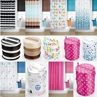 BATHROOM ACCESSORIES PLAIN PRINTED MODERN VINTAGE SHOWER CURTAINS LAUNDRY BINS
