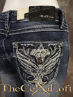 Womens GRACE IN LA Bootcut Jeans Fancy Silver Wings with Crystals!