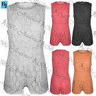 Womens Ladies Celebrity Sleeveless Back Zip Full Floral Lace Jumpsuit Playsuit