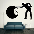 POOL PLAYER SILHOUETTE Wall Art Sticker Vinyl Transfer Graphic Sport Decal