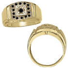0.25 Carat Black Diamond Designer Cluster Mens Man Wedding Ring 14K Yellow Gold