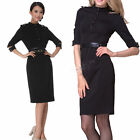 Lady Stand-Up Collar 3/4 Sleeve Show Slim Epaulettes Belted Pencil Dress 2 Color