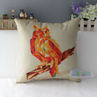 Cotton Linen Throw Pillow Case Cushion Cover Reindeer Head Owl Square Decor 17""