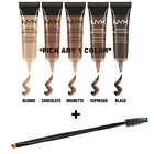 "NYX Waterproof Eyebrow Gel and Angled brow Spoolie brush set ""Pick Any 1 Color"""