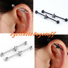 Pair Stainless Steel Star Long Industrial Bar Barbell Cartilage Earring Piercing