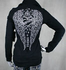 AFFLICTION women's SINFUL Buckingham Jacket Black WINGS embroidered stones