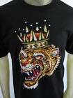 Tiger tattoo Americana style short sleeve tee shirt men's black choose A Size