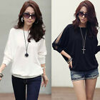 Women Casual Loose Batwing Sleeve Lace Sexy T-Shirt Blouse Tops Leisure