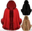 Ladies Women Luxury Celeb Wear Towie Hooded Soft Faux Fur Trim Shawl Cape