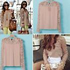 New Womens #S Casual Long Sleeve Shirt  Lace Crochet Emboriey Loose Tops Blouse