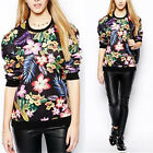 V New Women Casual Floral Print Loose Pullover Sweatshirt Hoodies Tops Outerwear