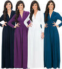 NEW Womens Vintage Long Sleeve Ruched Plus Size Evening Maxi Dress XS S M L XL