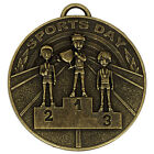 SPORTS DAY MEDAL METAL WITH FREE R/W/B RIBBON ANTIQUE GOLD OR SILVER AM939 SS