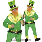 CL258 Mens Green Lucky Leprechaun Costume Irish St Patricks Day Party & Hat