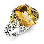 Citrine Ring .925 Sterling Silver 14K Gold Accent Antiqued Size 6-8 Shey Couture