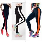 Women's Cotten Athletic Apparel Leggings Yoga Sport Running Pants Stripe Size L