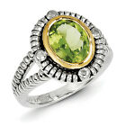 Peridot & Diamond Ring Sterling Silver 14K Accent 0.02 Ct Sz 6 - 8 Shey Couture