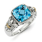 Blue Topaz Fleur De Lis Ring Sterling Silver & Gold Accent Size 6-8 Shey Couture