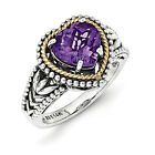 Amethyst Heart Ring .925 Sterling Silver & 14K Gold Accent Size 6-8 Shey Couture