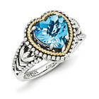 Blue Topaz Heart Ring .925 Sterling Silver & 14K Gold Accent Sz 6-8 Shey Couture