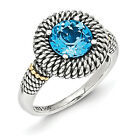 Light Swiss Blue Topaz Ring .925 Sterling Silver Antique Size 6 - 8 Shey Couture