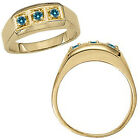 0.25 Carat Blue Diamond Designer 3 Stone Mens Man Wedding Ring 14K Yellow Gold
