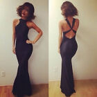 HOT Black Womens Sexy Backless Bodycon Evening Cocktail Party Bandage Long Dress