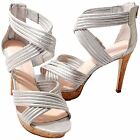 Gianni Bini Lyric Womens Sliver Leather Open Toe Strappy High Heel Dress Shoes