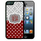 MONOGRAMMED RUBBER CASE FOR iPHONE 6 6s or 6 6s Plus GRAY DAMASK POLKA DOTS