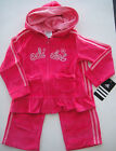 ADIDAS NWT Girl 2PC Track Suit Jacket Top Hoodie Pant Velour Dark Pink Warmup 24