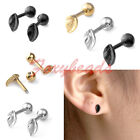 2X Stainless Steel Leaf Ear Cartilage Tragus Helix Barbell Bar Ear Studs Earring