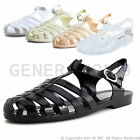 Womens Soft Retro Jelly Buckle Closure Strape Sandal Flats Style 29