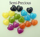 10 x Semi-Precious Dyed Jade Hearts For Jewellery Making Size 12mm