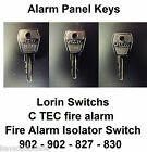 Alarm Panel Keys, fire isolation switch keys all codes avaliable from 801 to 999